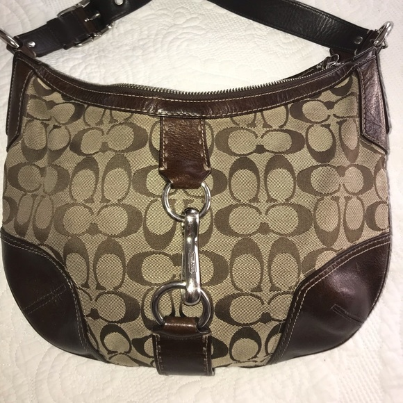 Coach Handbags - Coach Brown leather and fabric purse